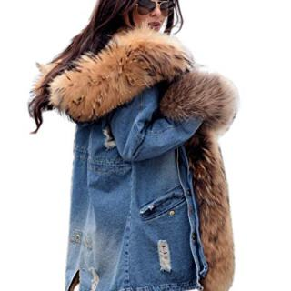 Roiii Plus Size Womens Military Hooded Warm Winter Coats Faux Fur Lined Parkas (Large, Blue Brown)