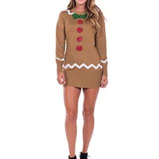 Tipsy Elves Women's Gingerbread Sweater Dress