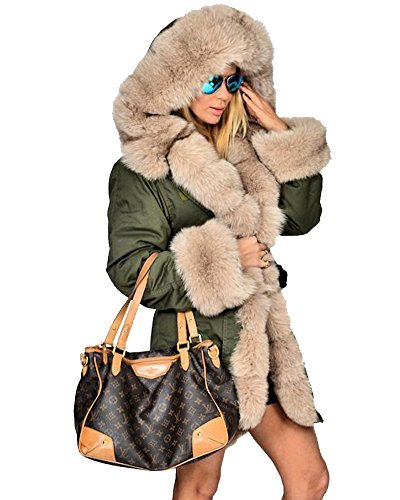 Roiii Womens Hooded Camouflage Warm Winter Coats Faux