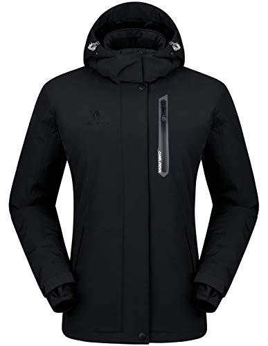 CAMEL CROWN Women's Mountain Snow Waterproof Ski Jacket Detachable Hood Windproof Fleece Parka Rain Jackt Winter Coat Black XL