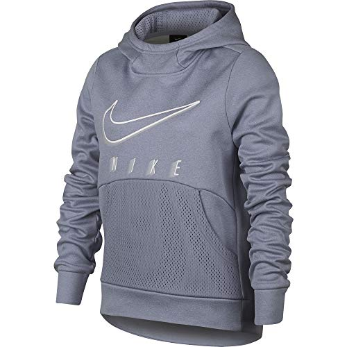 Nike Girl's Therma Training Pullover Hoodie Ashen Slate/Heather