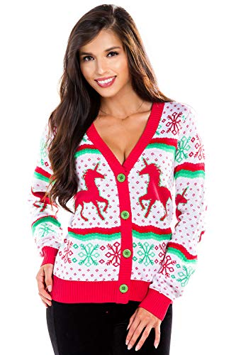 Women's Unicorn Ugly Christmas Sweater - White Cute Unicorn