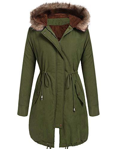 Beyove Women Winter Warm Hoodie Faux Fur Lined Down Parka