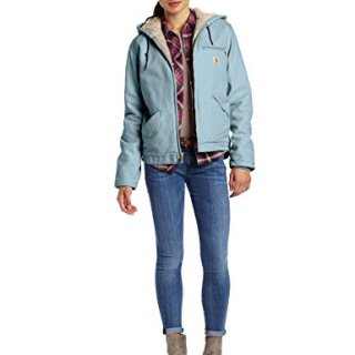 Carhartt Women's Sherpa Lined Sandstone Sierra Jacket (Regular and Plus Sizes), Sea Glass, Medium