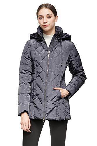 Orolay Women's Thickened Puffer Down Jacket Hooded Coat Grey S