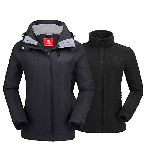 CAMEL CROWN Women's Ski Jacket Winter Jacket Waterproof 3 in 1 Mountain Coat Windproof Hooded with Inner Warm Fleece Coat (Black-2, Medium)