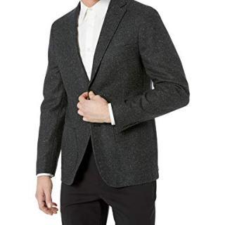 DKNY Men's Skinny Soft Blazer, Gray/Black Herringbone, 36 Short