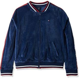 Tommy Hilfiger Big Girls' Track Jacket, Velour Flag Blue