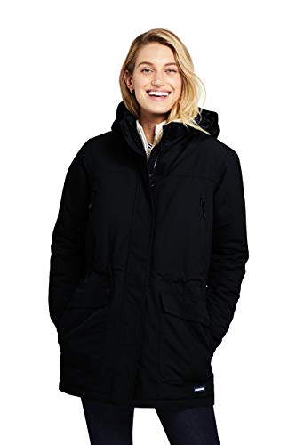 Lands' End Women's Squall Insulated Winter Parka Large Black