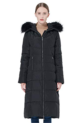 Orolay Women's Thickened Puffer Down Jacket Winter Hooded Coat Black M