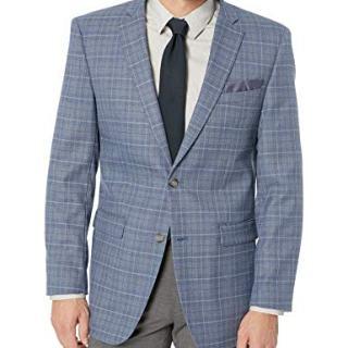 Perry Ellis Men's Slim Fit Blazer, Light Blue Plaid