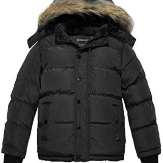 Wantdo Boy's Quilted Puffer Jacket Thick Winter Coat Sherpa Fleece