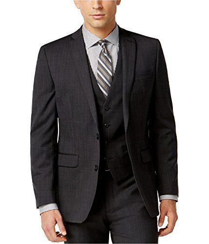 Bar III Men's Neat Slim Fit Wool Blazer Jacket (Charcoal, 42L)