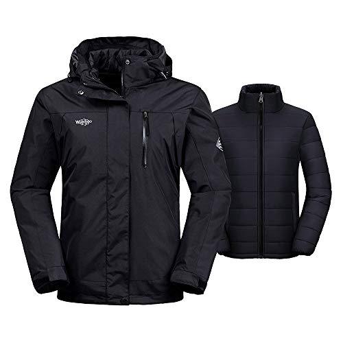 Wantdo Women's Interchange Jacket 3-in-1 Winter Coat Windproof Warm Windcheater with Detachable Puffer Liner Insulated Hoodie(Black, X-Large)