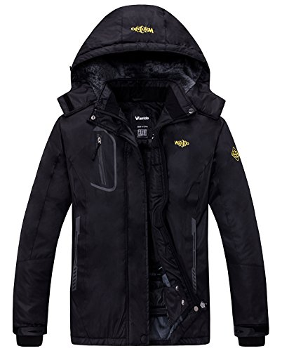 Wantdo Women's Mountain Waterproof Fleece Ski Jacket Windproof Rain Jacket, X-Large, Black