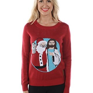 Tipsy Elves Women's Santa and Jesus Christmas Sweater
