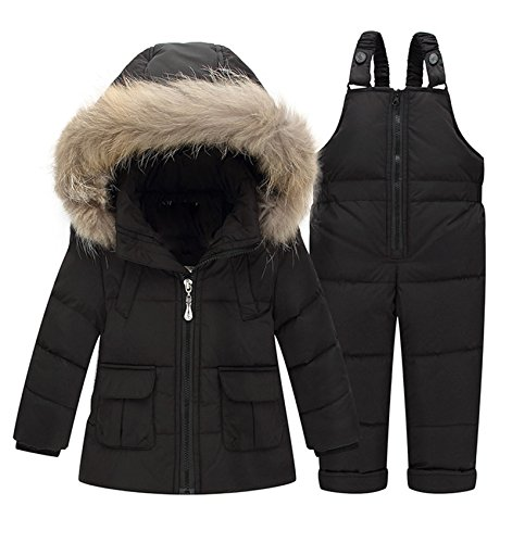 Luodemiss Girl's Baby Two Pieces Thicken Down Snowsuit Hooded Jacket