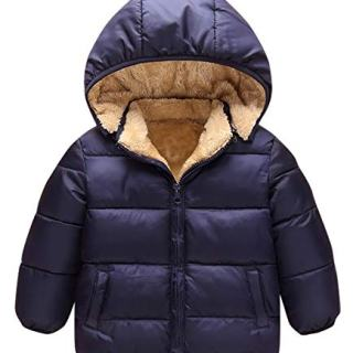 Kids Winter Fleece Coat, Girls Boys Hooded Down Jacket Winter Warm