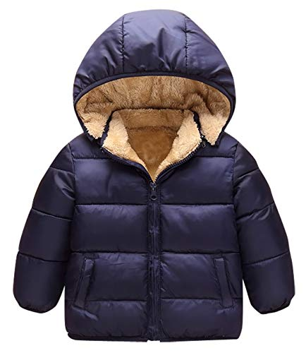 Kids Winter Fleece Coat, Girls Boys Hooded Down Jacket Winter Warm