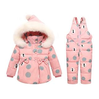 Skijakkeset Baby Girls 2 Piece Winter Warm Hooded Fur Trim Snowsuit