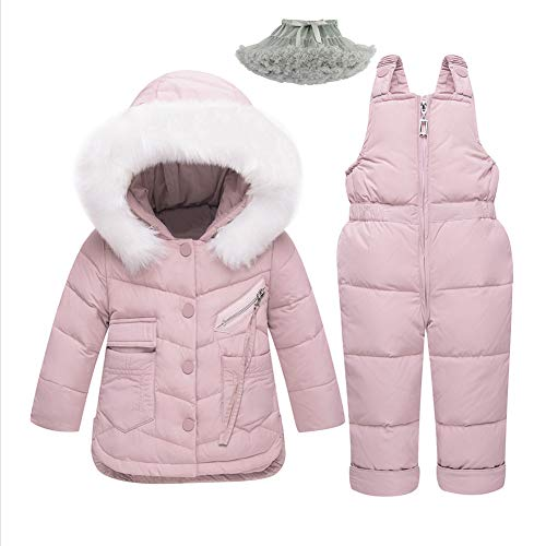 M&A Baby Girls Boys Winter Hooded Down Coat Puffer Jacket and Bib Pants