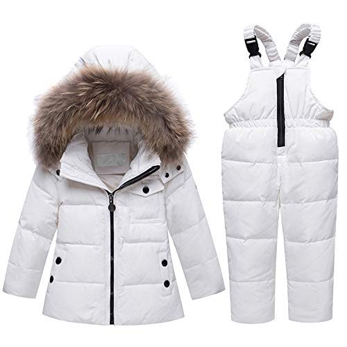 LJYH White Baby Girl Hooded 2pcs Snowsuit Down Jacket and Pants