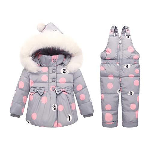 Skijakkeset Baby Girls 2 Piece Winter Warm Hooded Fur Trim Snowsuit