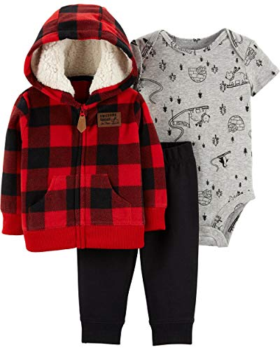 Carter's Baby Boys` 3-Piece Little Jacket Set, Red Plaid