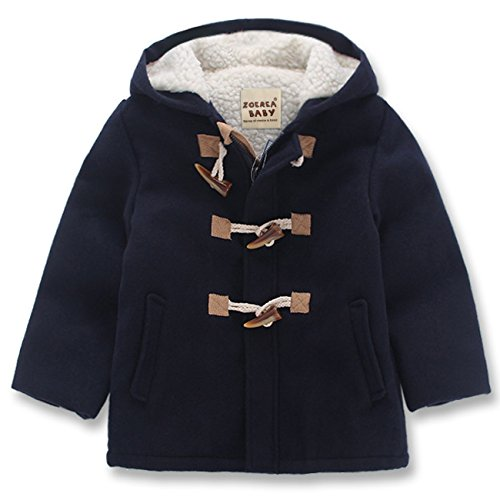 ZOEREA Boy Girls Unisex Baby's Fashion Hooded Jacket Kids Toggle Wool Coat