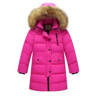 Lucoo Girl's Coat,Kids Girls Winter Faux Fur Hooded Parka Down Coat