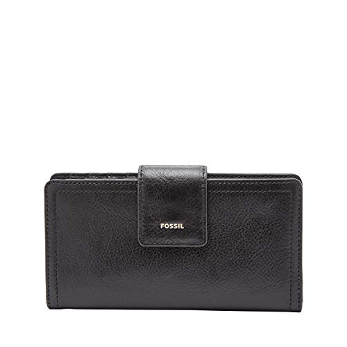 Fossil Women's Logan Leather Tab Wallet, Black