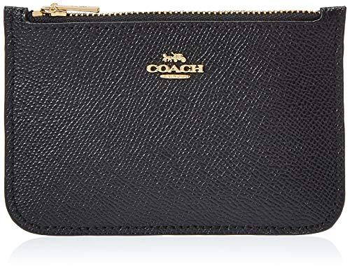 COACH Zip Card Case in Crossgrain Leather Li/Black One Size