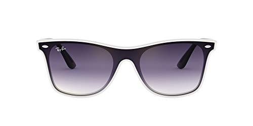 Ray-Ban Blaze Wayfarer Sunglasses, White Demishiny/Violet Blue Gradient Mirror