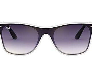 Ray-Ban Blaze Wayfarer Sunglasses, White Demishiny/Violet Blue Gradient Mirror