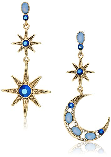 Betsey Johnson Mystic Baroque Queens Blue and Gold Moon and Star Drop Earrings