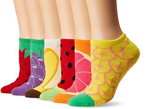 K. Bell Women's 6 Pack Novelty No Show Low Cut Socks, Fruit (Red)