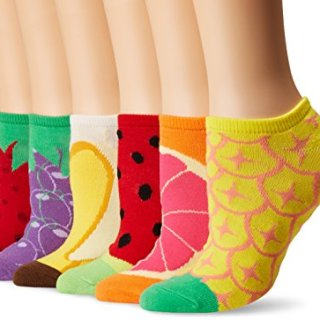K. Bell Women's 6 Pack Novelty No Show Low Cut Socks, Fruit (Red)