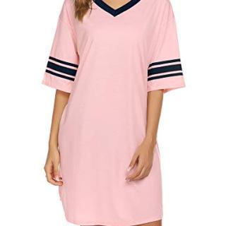 Ekouaer Women's Nightgown, Cotton Novelty Sleepshirts V Neck Short Sleeve
