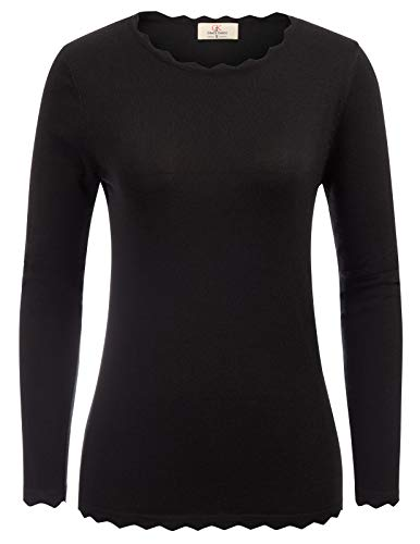 GRACE KARIN Women's Stretchy Long Sleeve Pullover Sweater Black