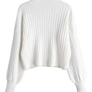 ZAFUL Women Ribbed Texture Loose Knit Sweater Casual High Neck Crop