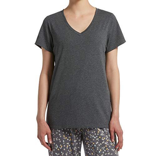 HUE Sleepwear Women's Short Sleeve V-Neck Sleep Tee with Temp Tech