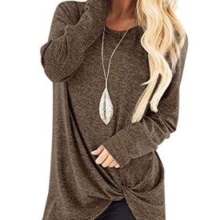SAMPEEL Women's Leggings Shirts Long Sleeve Twist Knot Tunic Tops Blouse Coffee