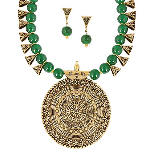 MUCH-MORE Indian Oxidized Colored Pearl Beaded Tribal Disk Necklace Set