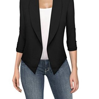 Womens Casual Work Office Open Front Blazer Black Medium