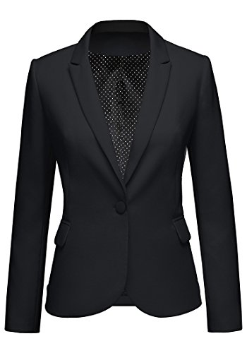 LookbookStore Women's Black Notched Lapel Pocket Button Work Office Blazer