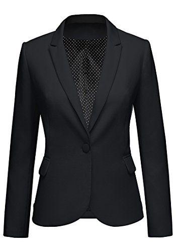 LookbookStore Women's Black Notched Lapel Pocket Button Work Office Blazer