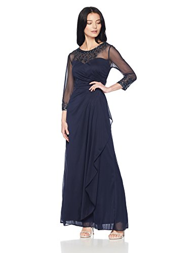 Alex Evenings Women's Long A-Line Sweetheart Neck Dress