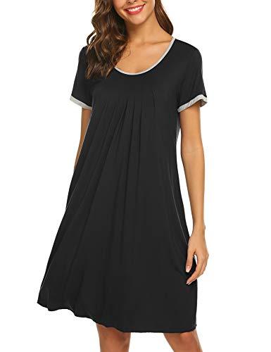 Ekouaer Womens Nightgown Cotton Sleep Shirt Dress Casual Short Sleeve
