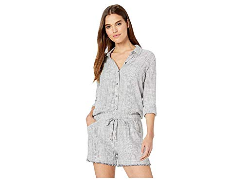 Splendid Women's Short Jumpsuit Romper, Linen Navy Natural Stripe
