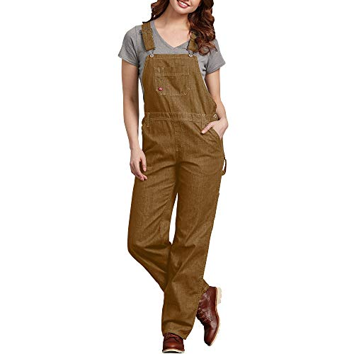 Dickies Women's Bib Overall, Rinsed Brown Duck, Small